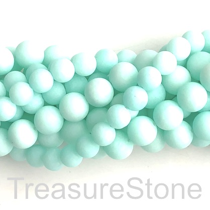 Bead, jade, dyed, amazonite, 8mm, round, matte, frosted. 15', 46
