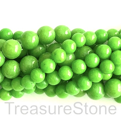 Bead, jade (dyed), apple green, 8mm, round. 15.5-inch, 49pcs