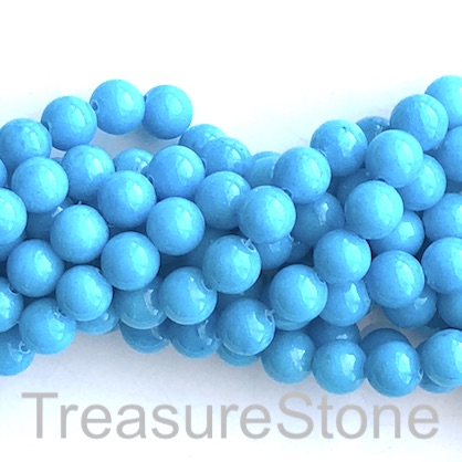 Bead, jade (dyed), bright blue, 8mm, round. 15.5-inch, 50pcs