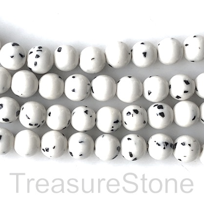 Bead, jade (dyed), white, black dot, 8mm round, 15.5-inch, 48pcs