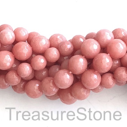 Bead, jade (dyed), coral, 8mm, faceted round.14.5-inch, 45pcs