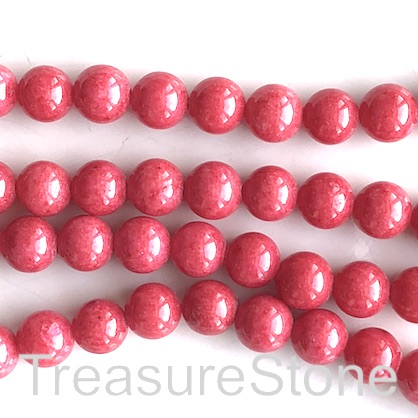 Bead, jade (dyed), cranberry, 8mm, round. 15.5-inch, 50pcs