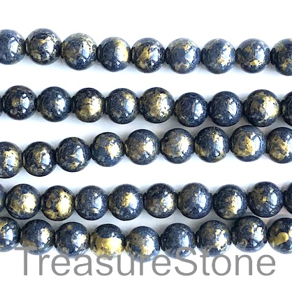 Bead, jade (dyed),dark blue, gold foil, 8mm round, 16-inch,52pcs