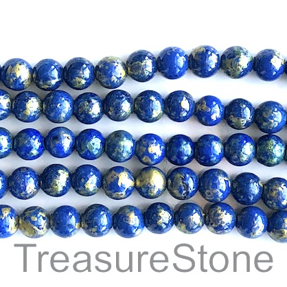 Bead, jade (dyed),lapis blue,gold foil, 8mm round, 16-inch,52pcs