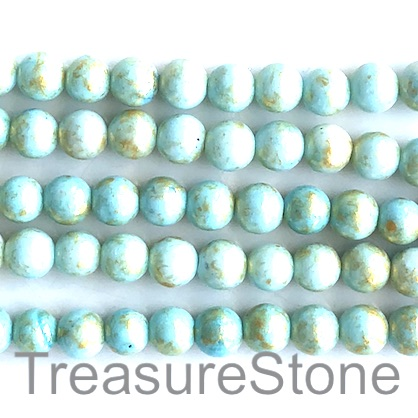 "Bead, jade (dyed),light turquoise, gold foil,8mm round,16"",52pcs"