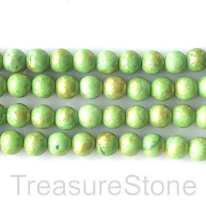 Bead, jade (dyed), green, gold foil, 8mm round, 16-inch,52pcs