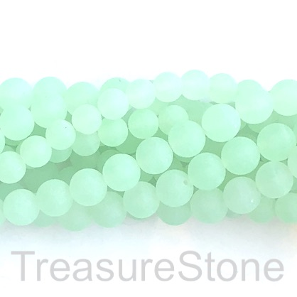 Bead, jade, dyed, green, 8mm, round, matte, frosted. 15', 48pcs