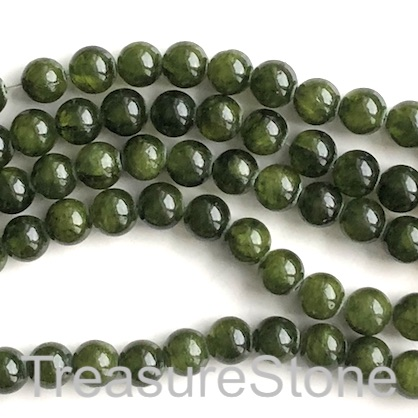 Bead, jade (dyed), olive green, 8mm, round. 15-inch, 47pcs