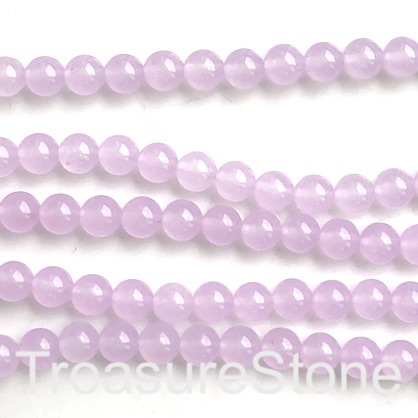 Bead, jade, dyed, light lilac 1, 8mm, round. 15', 48pcs