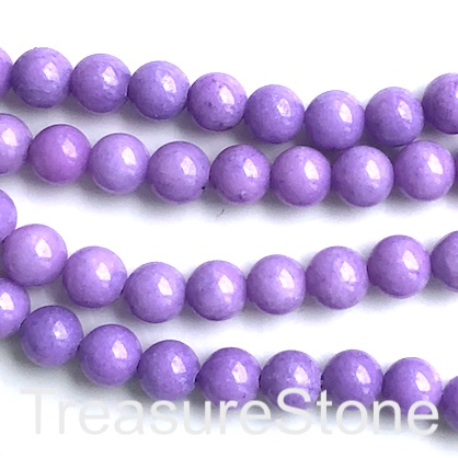 Bead, jade, dyed, solid lilac 2, 8mm, round. 15', 50pcs