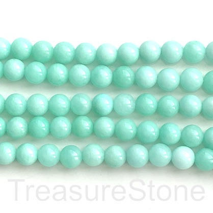 "Bead, jade (dyed), mint green, 8mm, round. 15"", 48 pcs"