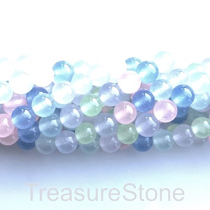 Bead, jade (dyed), mixed colour, 8mm, round. 15.5-inch, 50 pcs