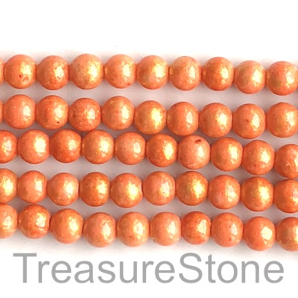 Bead, jade (dyed), orange, gold foil, 8mm round, 16-inch, 52pcs