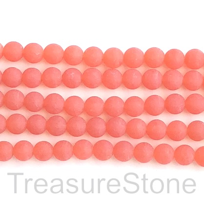 Bead, jade, dyed, orange, 8mm, round, matte, frosted. 15', 46pcs