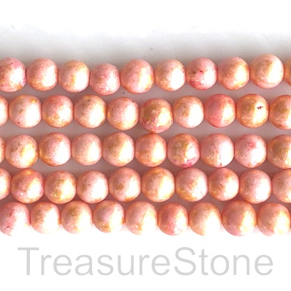 Bead, jade (dyed), peach, gold foil, 8mm round, 16-inch,48pcs