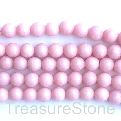 Bead, jade (dyed), pink, 8mm, round. 16-inch, 50 pcs