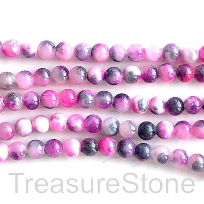 "Bead, jade (dyed), pink, grey, 6mm round. 16"", 66"