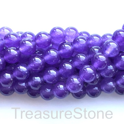 Bead, jade (dyed), purple, 8mm, round. 16-inch, 50 pcs