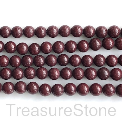 Bead, jade (dyed), purple brown, 8mm, round. 15.5-inch, 50pcs