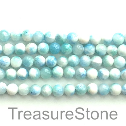 Bead, jade (dyed), white, blue, 8mm round, 16-inch, 50pcs