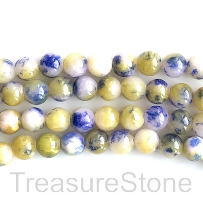 Bead, jade (dyed), white, blue, green, 8mm round, 15.5 in, 50pcs