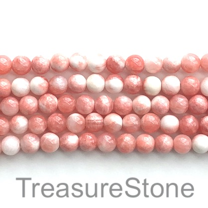 Bead, jade (dyed), white, rose, 8mm round, 16-inch, 50pcs