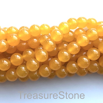 Bead, jade (dyed), yellow, 8mm, round. 16-inch, 50 pcs