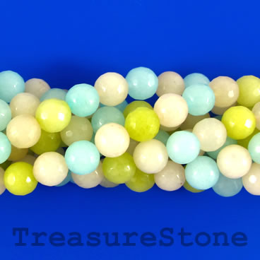 Bead, jade (dyed), mixed colors, 8mm, faceted round. 15.5-inch.