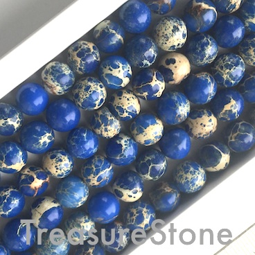 Bead, Imperial Jasper, dyed, blue, Round, 8mm. 15.5 inch