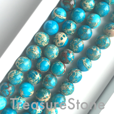 Bead, Imperial Jasper, dyed, turquoise, 8mm round. 15.5 inch