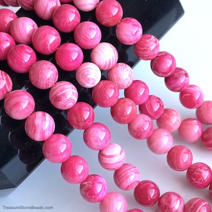 A Bead, pink, dyed shell, 8mm round. 15.5-inch strand, 48pcs