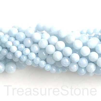 Bead, dyed quartz, Aquamarine, 8mm round. 15 inch, 47