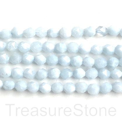 Bead,dyed quartz,Aquamarine,7x8mm,faceted nugget, star cut.15,48