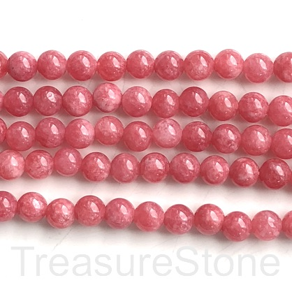 "Bead, dyed quartz, Rhodochrosite, 8mm round. 15"", 48pcs"