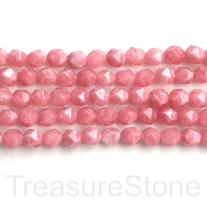 Bead,dyed quartz,Rhodochrosite,7x8mm,faceted nugget,star cut.14""