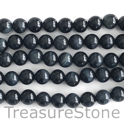 Bead, dyed Tiger's Eye, black, 8mm round. 15-inch, 48pcs