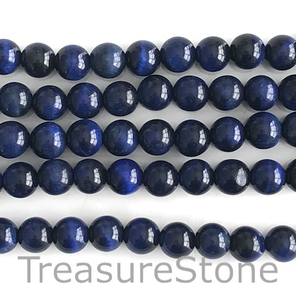 Bead, dyed Tiger's Eye, blue, 8mm round. 15-inch, 48pcs