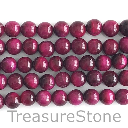 Bead, dyed Tiger's Eye, fuchsia, 8mm round. 15-inch, 48pcs