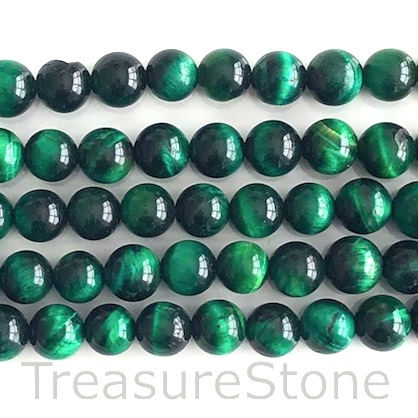 Bead, dyed Tiger's Eye, green, 8mm round. 15-inch, 48pcs