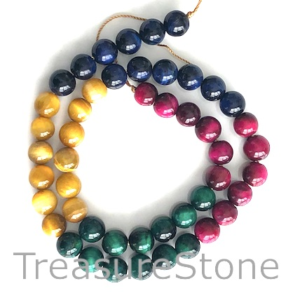 Bead, dyed Tiger's Eye, mixed color, 8mm round. 15-inch, 48pcs