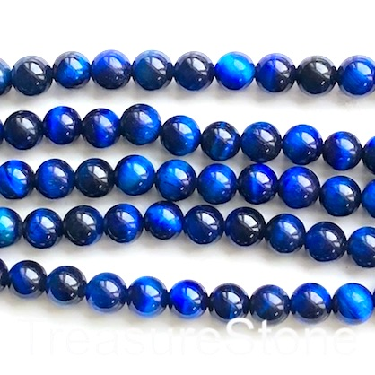 Bead, dyed Tiger's Eye, royal blue, 8mm round. 15-inch, 48pcs