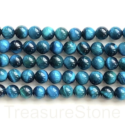Bead, dyed Tiger's Eye, tilt blue, 10mm round. 15-inch, 38pcs