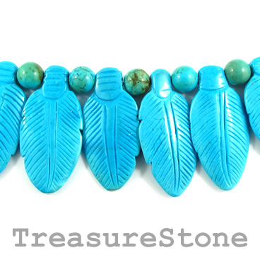 Bead, dyed turquoise, 23x47mm carved feather. 23pcs.