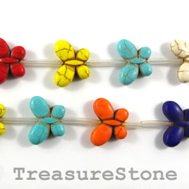 Bead, dyed turquoise, 16x21mm butterfly, mixed color. Pkg of 15.