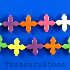 Bead, dyed turquoise, 15mm cross, mixed color. 16-inch