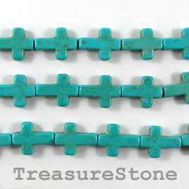 Bead, dyed turquoise, 12x17mm cross. 16.5-inch