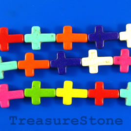 Bead, dyed turquoise, 12x17mm cross, mixed color. 16-inch