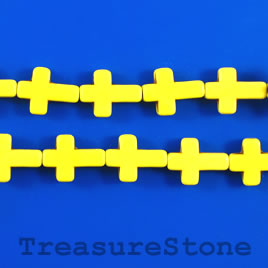 Bead, dyed turquoise, 12x17mm cross, yellow. 15.5-inch strand