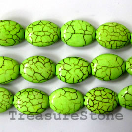 Bead, dyed turquoise, lime green, 12x16mm flat oval. 16-inch.