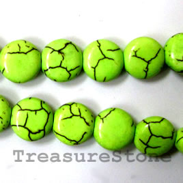 Bead, dyed turquoise, lime green, 12mm flat round. 16-inch.
